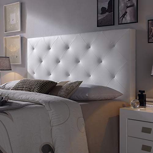 Cabecero tapizado Rombo 140X60 cm Blanco, para Cama de 135 cm, Acolchado con Espuma, 8 cm de Grosor, Incluye herrajes para Colgar