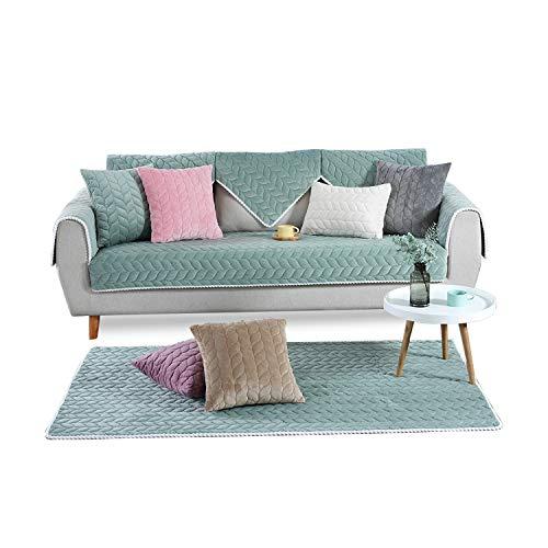 PETCUTE Fundas Sofa Chaise Longue Cubre Sofa Acolchado Fundas para Sofa sin Brazos Antideslizante Verde 110X210cm
