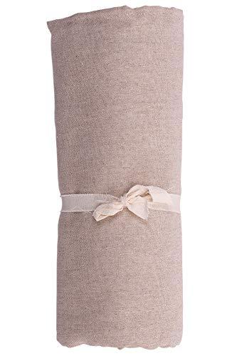 HomeLife – Foulard Multiusos – Tela Decorativa Cubre sofá con diseño Liso, 160x280, fabricación Italiana – Granfoulard de algodón – Cubrecama Individual (Cama 1 Plaza) – Beige