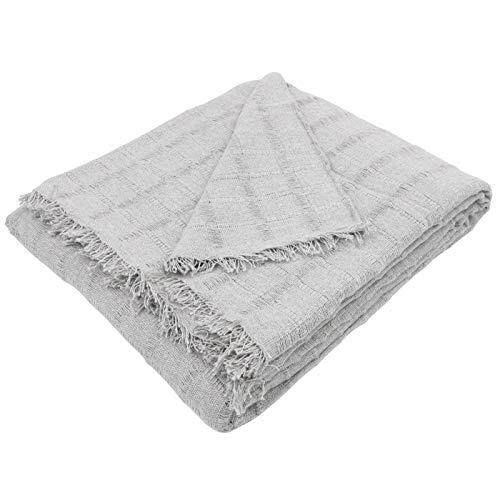 MERCURY TEXTIL- Colcha Multiusos Sofa,Manta Foulard,Plaid para Cama,Cubresofa Cubrecama,jarapas,Comoda Practica y Suave. Poliester Algodón (230 x 260cm, Liso Gris)