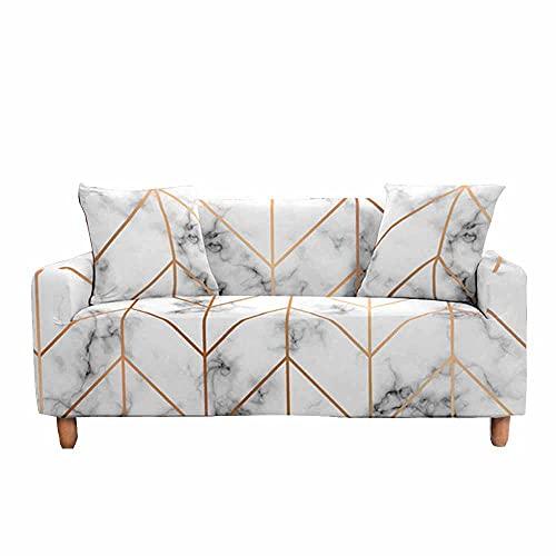 Fansu Funda de Sofá Elástica para Sofá de 1 2 3 4 Plazas,Ajustable Patrón de mármol 3D Cubre Sofa con 1 Funda de Cojín,Antisuciedad Protector de Muebles (Borde Dorado,3 plazas(190-230cm))