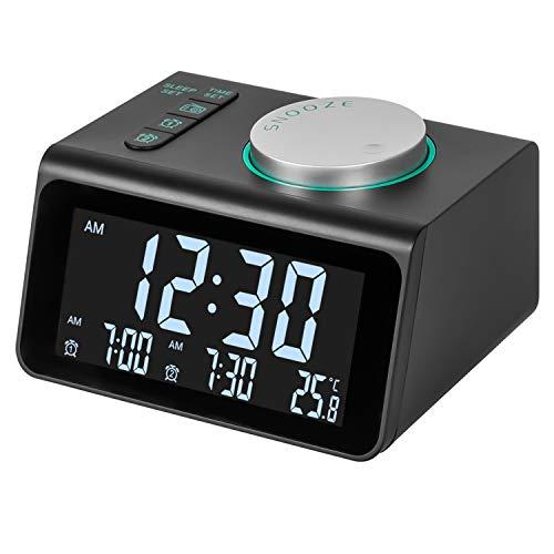 Radio Reloj Despertador, FM Reloj de Radio Digital Reloj de Cabecera con Puerto de Carga USB Doble, Pantalla de Temperatura, 5 Ajustable Brillo sin Tictac Reloj para Dormitorio Oficina de Viaje