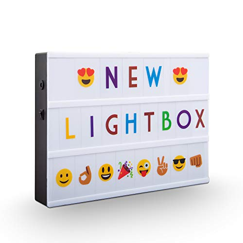 B.K.Licht I LED A4 Lightbox I USB y batería I 6.500 Kelvin blanco luz diurna I 220 Letras decorativas en negro y en color I 82 Emojis y símbolos I Lightbox I Buzón