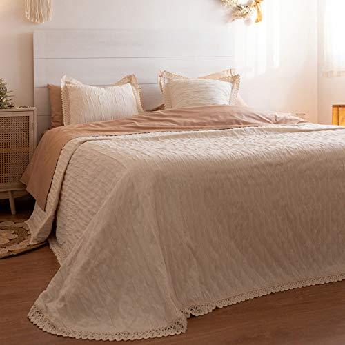 LA MALLORQUINA Colcha de Piqué - Camelia (Cama 180 o 200 cm - 280x260 cm - Crudo) | Colchas de Lujo y Diseño de Algodón