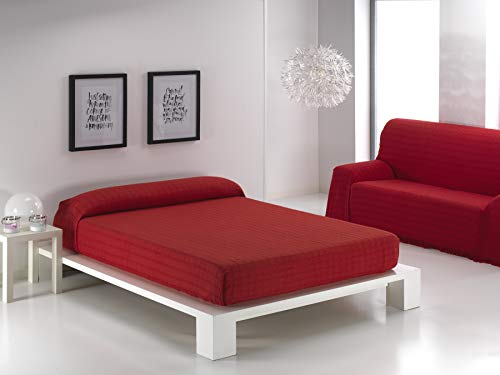 Regalitostv (230 Rojo) ALFARNATE* Colcha Tejida con Flecos Multiusos Foulard Cubre-Camas Plaid Liso para Cama o sofá Garantizada Fabricado EN ESPAÑA (230_x_260_cm, Rojo)