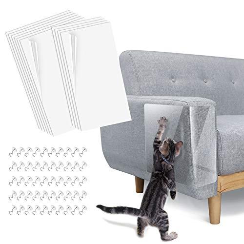 Lewondr 10PZS Protector Sofa Gatos Arañazo, Fundas de Sofá Autoadhesivas Transparentes para Gatos con 50 Tornillos, Protector Rascador Antirrasguños para Muebles, Puertas, Paredes de Madera
