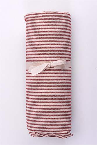 HomeLife – Foulard Multiusos – Tela Decorativa Cubre sofá con diseño de Rayas, 160x280, fabricación Italiana – Granfoulard de algodón – Cubrecama Individual (Cama 1 Plaza) – Rojo