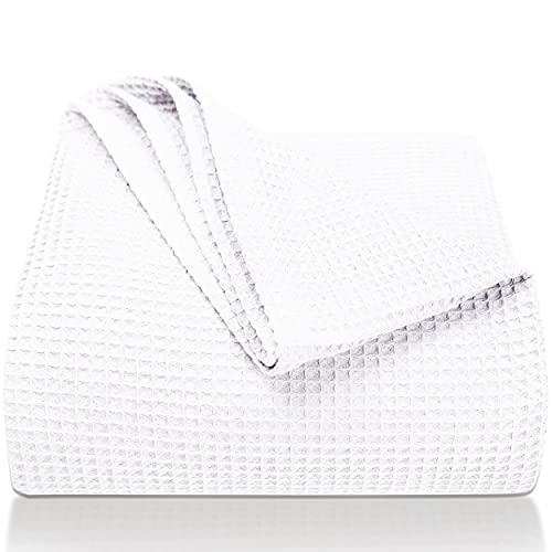 LAYNENBURG Manta para Sofá Verano 150 x 200 cm - Waffle Pique 100% Algodón - cocha Ligera de Verano - Manta de algodón como Manta de Cama, de sofá - Manta de sofá aireada (Blanco)
