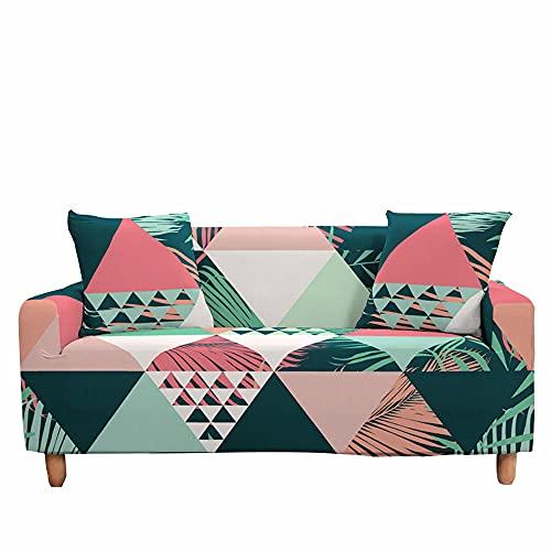 Fansu Funda de Sofá Elástica Universal para Sofá 1 2 3 4 Plazas, Ajustable Impresión 3D Patchwork Cubre Sofa con 1 Funda de Cojín, Antideslizante Protector de Muebles (Verano,2 plazas)