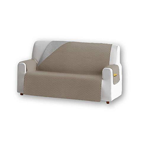 Unishop Funda de Sofa Protector de Sofá Cubre Sofá Bicolor Protector para Sofás Acolchado Reversible para Mascotas Muebles Polvo (Beige, 3 Plazas)
