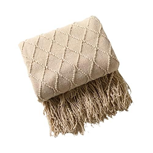 Knitted Tassel Throw Blanket con Borlas para Sofá, Relieve de Gofres Manta de Viaje para el Hogar, para Sofá Cama Hogar Decorativo (Color : Khaki, Size : 125×170 cm)