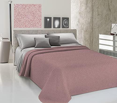 HomeLife Colcha de una plaza y media para primavera y verano de piqué [220 x 280] Made in Italy | Colcha de cama francesa de algodón efecto liso | Colcha de 1 plaza y media ligera | Rojo