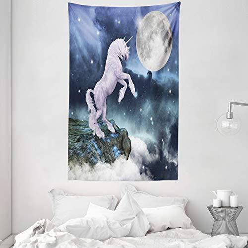 ABAKUHAUS Unicornio Tapiz de Pared y Cubrecama Suave, Criatura Legendaria en Acantilado Bajo Luz de Luna Llena Cielo Arte Aerógrafo, Objeto Decorativo Lavable, 140 x 230 cm, Lila