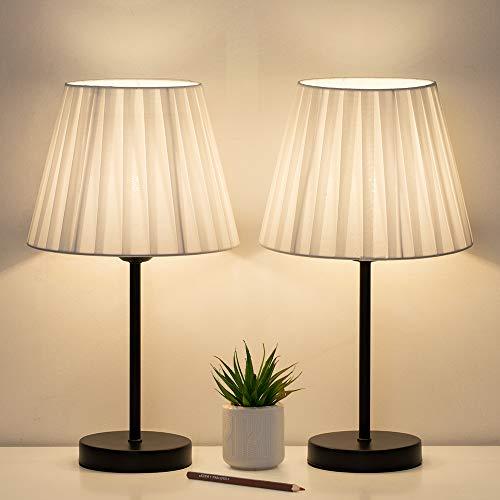 Juego de 2 lámparas de mesa, lámparas pequeñas de cabecera con pantalla de tela blanca, lámparas de cabecera para salones, oficinas, dormitorios y habitaciones infantiles