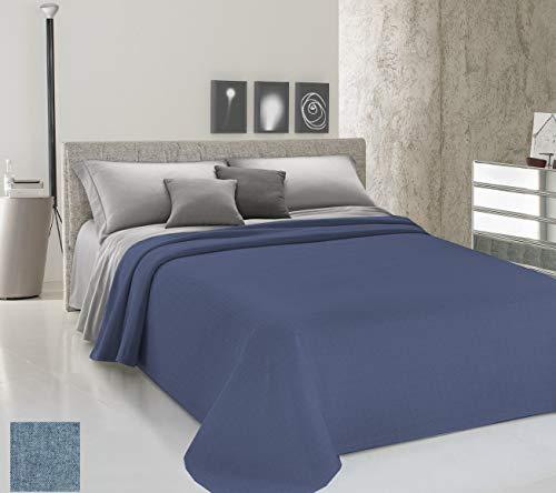 HomeLife Colcha de una plaza y media para primavera y verano teñida de hilo [220 x 290 cm] Made in Italy   Colcha de cama francesa lisa de algodón   Colcha de 1 plaza y media ligera   1,5 P azul