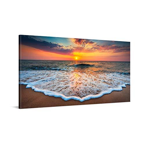 PICANOVA – Cuadro sobre Lienzo Sea Sunset 100x50cm – Impresión En Lienzo Montado sobre Marco De Madera (2cm) – Disponible En Varios Tamaños – Colección Playas