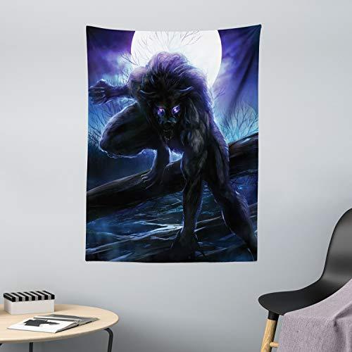 ABAKUHAUS Fantasía Tapiz de Pared y Cubrecama Suave, Surrealistas Ojos del Hombre Lobo, Lavable Colores Firmes, 110 x 150 cm, Azul Morado