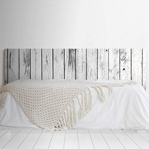 MEGADECOR Cabecero Cama PVC Decorativo Económico Impresa Textura Madera Tablas EnvejecidaS Verticales Blanco y Negro Varias Medidas (150 cm x 60 cm)