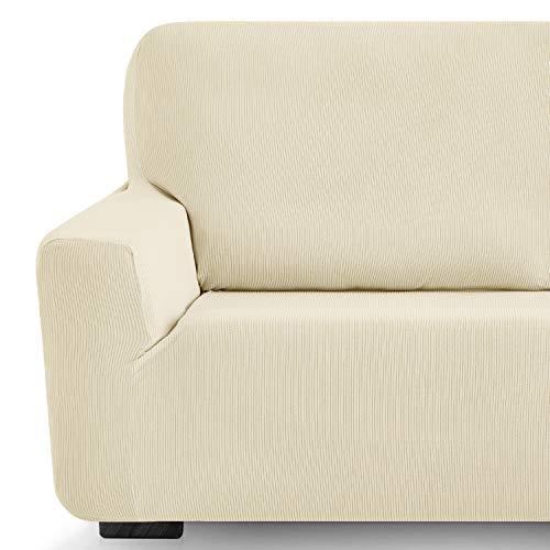 Eiffel Textile Milan Fundas para Sofa Elastica Adaptable Lisa, 94% poliéster 6% Elastano, Marfil, Set 3+2 Plazas