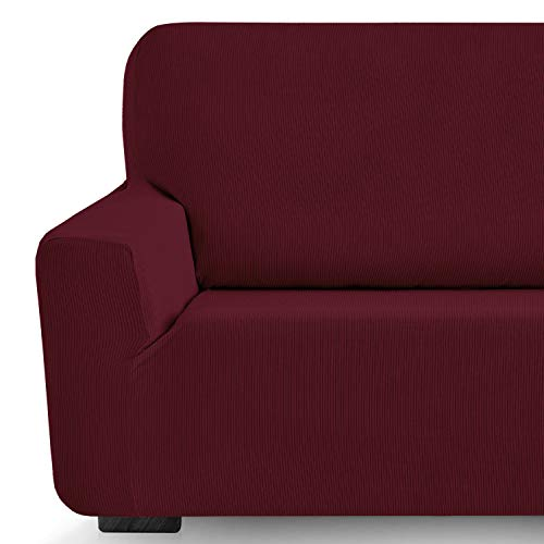 Eiffel Textile Milan Fundas para Sofa Elastica Adaptable Lisa, 94% poliéster 6% Elastano, Rojo, Set 3+2 Plazas