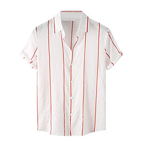 Camisa de manga corta para hombre, de verano, con solapas, con estampado de flores, para el tiempo libre, para la playa H blanco M