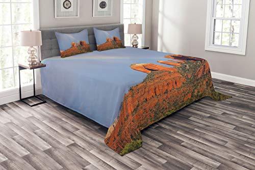 ABAKUHAUS Arizona Cubrecama, Arco Iris sobre el Gran Cañón, Suave Tela de Poliéster Hilado Técnica de Estampado Digital, 264 x 220 cm, Naranja Quemado Ceil Azul
