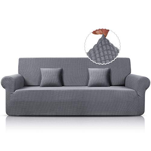 TAOCOCO Funda elástica para sofá de 4 plazas de 237 a 295 cm. Lavable a máquina (gris claro)