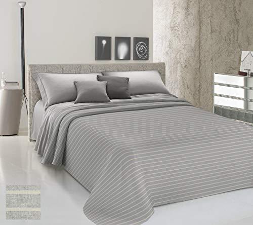 HomeLife Colcha de matrimonio primaveral de verano teñida de hilo [250 x 290] Made in Italy | Manta para cama de matrimonio a rayas 100% algodón | Sábana bajera ligera | 2 plazas gris