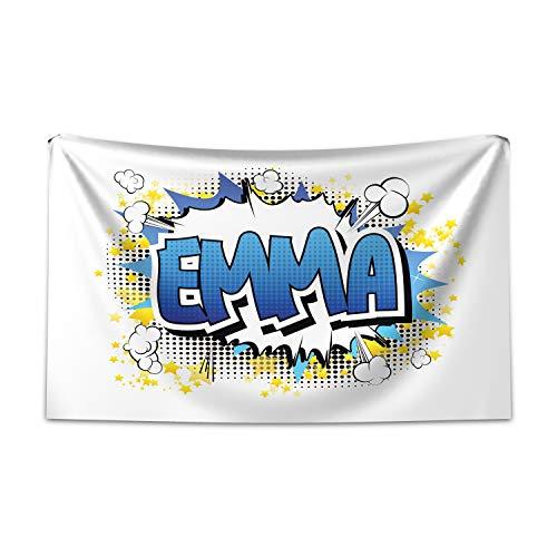 ABAKUHAUS Emma Tapiz de Pared y Cubrecama Suave, Juvenil Adolescente del Cómic, Decoración para el Cuarto, 230 x 140 cm, Azul Amarillo Y Negro