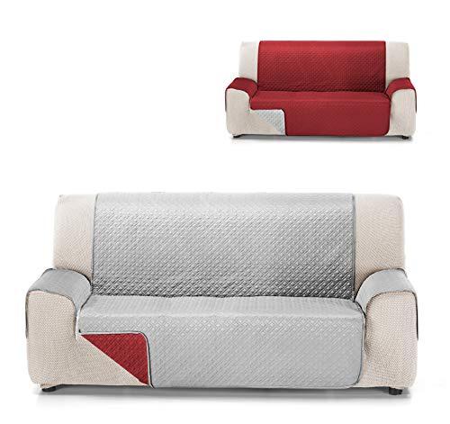 Cardenal Textil RUBÍ Cubre Sofa Bicolor Reversible, Rojo/Perla, 2 Plazas