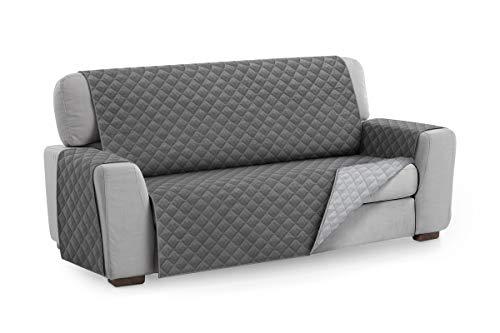 Textilhome - Funda Cubre Sofá Malu, 4 Plazas, Protector para Sofás Acolchado Reversible. Color Gris C/3