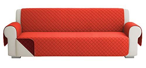 Fundas para Sofa Acolchado, Funda De Sofas 4 Plazas (220 CM), Cubre Sofa Reversible Bicolor, Rojo / Naranja