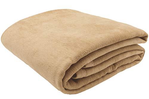 ZOLLNER Manta para Cama 90, Beige Oscuro, 60% algodón, Medidas