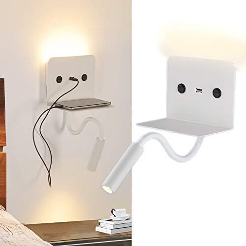 BarcelonaLED Lampara Aplique de pared LED para lectura 6W con foco flexo 3W blanco calido orientable y base de carga USB para Dormitorio Cama Cabecero