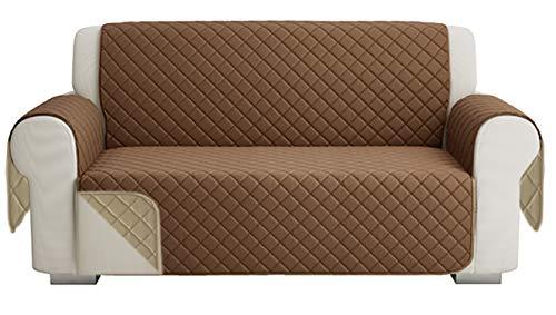 Fundas para Sofa Acolchado, Funda De Sofas 2 Plazas (120 CM), Cubre Sofa Reversible Bicolor, Beige / Marrón