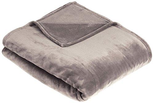 Amazon Basics Velvet Plush Throw Manta Suave con Tacto de Terciopelo, Gris, 229 x 229cm