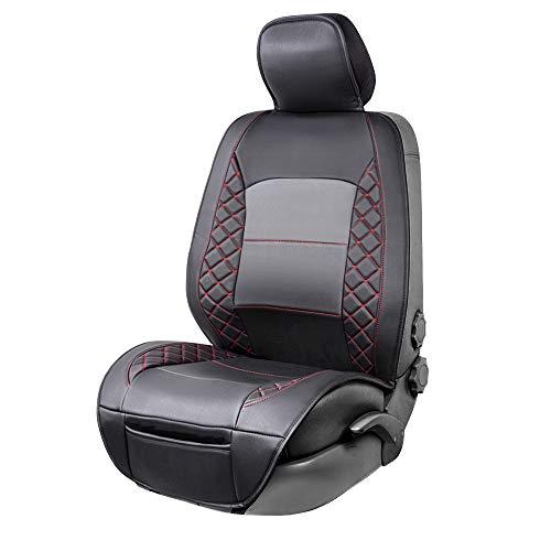 Amazon Basics - Funda Deluxe de asiento de cuero sintético de ajuste universal sin laterales, negro con patrón rojo de diamante