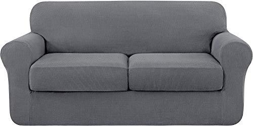subrtex 2 Plazas Funda de Sofá de con 2 Cojines de Asiento Separados de Alta Elasticidad para Sillón Anti Arañazos Protector de Muebles Lavables Lavable en Lavadora(2 Plazas, Gris Claro)