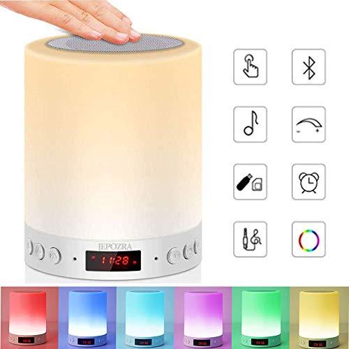Luces nocturnas Altavoz Bluetooth, Lámpara de Mesita de Noche,Lámpara LED de control táctil Regulable Luces cálidas 7 colores, Lámpara de cabecera con USB lámpara de noche recargable portátil...