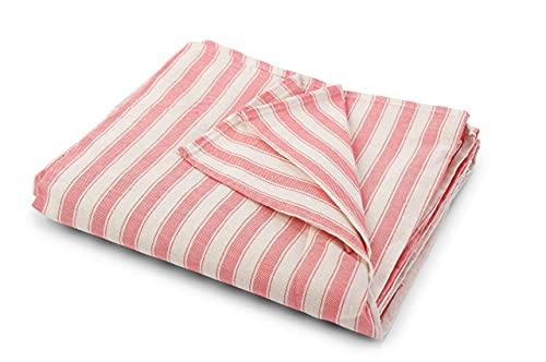 HomeLife - Funda para sofá a rayas fabricada en Italia   Sábana cubretodo multiusos de algodón   Granfoulard Colcha para cama de matrimonio [260 x 280] Tela decorativa rosa de 2 plazas