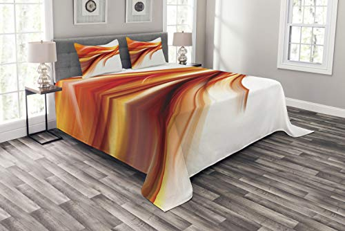 ABAKUHAUS Abstracto Cubrecama, Moderno Contemporáneo Líneas Suaves Abstractas Difuminadas Arte Estampa, Lavable Colores No Destiñen, 264 x 220 cm, Naranja