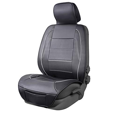 Amazon Basics - Funda Deluxe de asiento de cuero sintético de ajuste universal sin laterales, negro con líneas grises