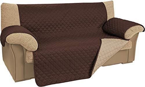 npt Funda Cubre Sofa. Protector para Sofás Acolchado y Reversible Disponible en 2, 3 , 4 plazas y 5 Colores (Marrón, 1 Plaza)