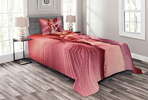 ABAKUHAUS Arizona Cubrecama, Famoso cañón del antílope Rosa, Set Decorativo de 3 Piezas Acolchado con 2 Fundas para Almohada, 170 x 220 cm, Rosa Seca Rosa Coral