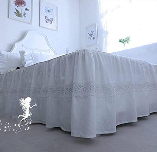 QUNCUNG Blanco Bedding Ruffled Bedskirt Cubre Canapé Colcha Falda De Cama Reina Rey Falda De Cama Elástica con Volantes Medidas Canapé Algodón Colcha para Todas Las...