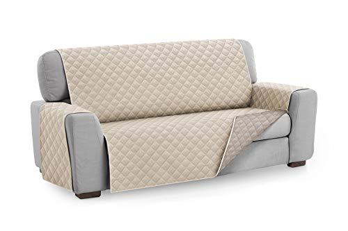 Textilhome - Funda Cubre Sofá Malu, 2 Plazas, Protector para Sofás Acolchado Reversible. Color Marfil
