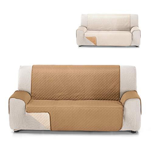 Cardenal Textil RUBÍ Cubre Sofa Bicolor Reversible, Crudo/Beige, 3 Plazas