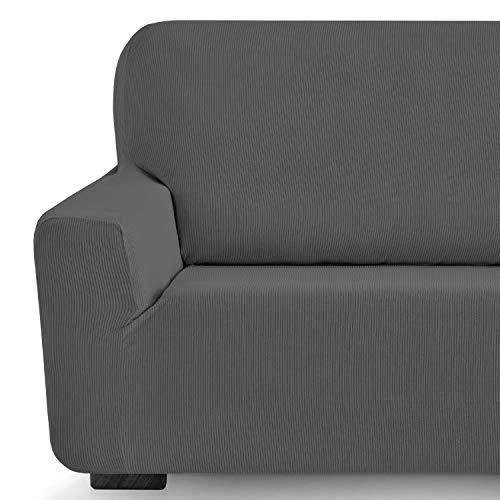 Eiffel Textile Milan Fundas para Sofa Elastica Adaptable Lisa, 94% poliéster 6% Elastano, Gris, 3 Plazas (180-240 cm)