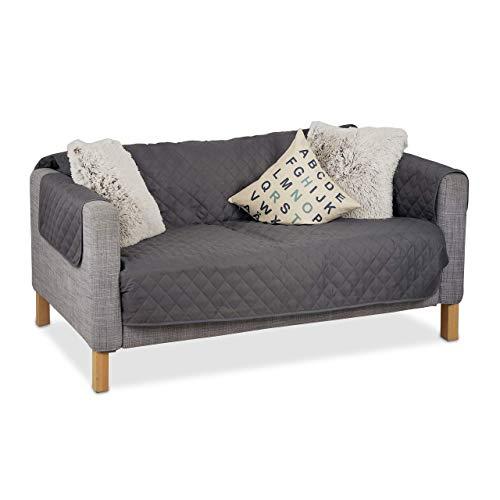 Relaxdays Funda para sofás de Dos plazas, Protector para sofá, Anti pelos y Manchas, Gris, poliéster