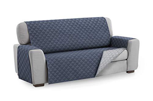 Textilhome - Funda Cubre Sofá Malu, 4 Plazas, Protector para Sofás Acolchado Reversible. Color Azul C/5